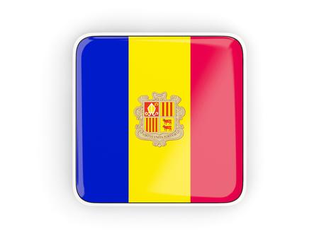 andorra: Flag of andorra, square icon with white border. 3D illustration Stock Photo
