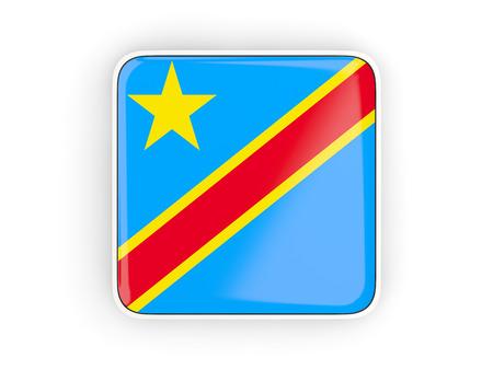 Flag of democratic republic of the congo, square icon with white border. 3D illustration