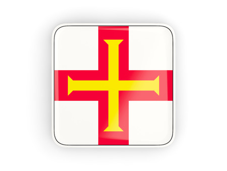 guernsey: Flag of guernsey, square icon with white border. 3D illustration