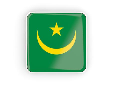 mauritania: Flag of mauritania, square icon with white border. 3D illustration Stock Photo