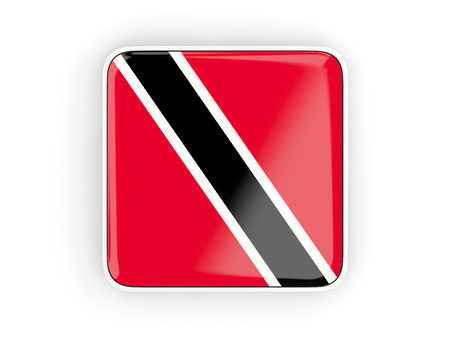 trinidad: Flag of trinidad and tobago, square icon with white border. 3D illustration