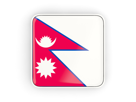 nepal: Flag of nepal, square icon with white border. 3D illustration Stock Photo