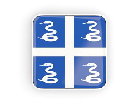 martinique: Flag of martinique, square icon with white border. 3D illustration