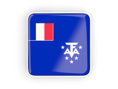 territories: Flag of french southern territories, square icon with white border. 3D illustration
