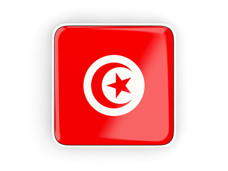 tunisia: Flag of tunisia, square icon with white border. 3D illustration