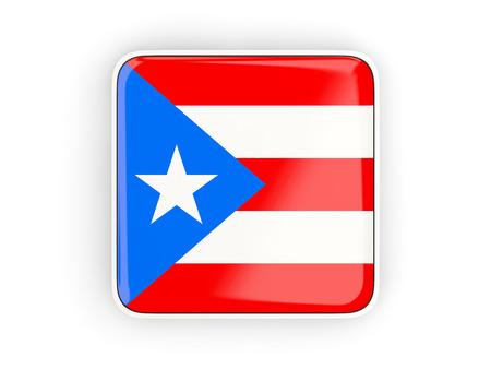 bandera de puerto rico: Bandera de Puerto Rico, icono cuadrado con la frontera blanca. ilustración 3D Foto de archivo