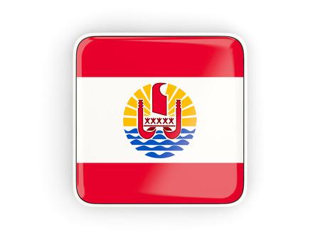 polynesia: Flag of french polynesia, square icon with white border. 3D illustration
