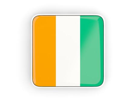 cote ivoire: Flag of cote d Ivoire, square icon with white border. 3D illustration Stock Photo