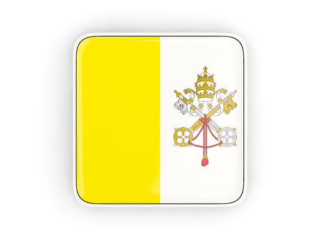 vatican city: Flag of vatican city, square icon with white border. 3D illustration