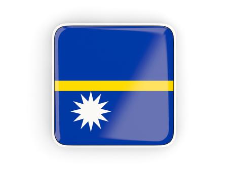 nauru: Flag of nauru, square icon with white border. 3D illustration Stock Photo
