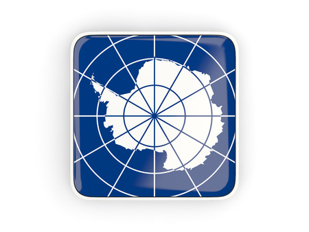 background antarctica: Flag of antarctica, square icon with white border. 3D illustration