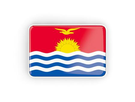 kiribati: Flag of kiribati, rectangular icon with white border. 3D illustration