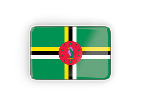 dominica: Flag of dominica, rectangular icon with white border. 3D illustration