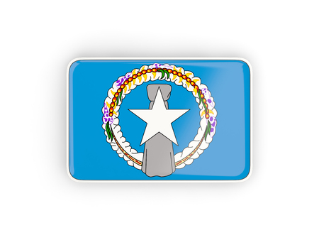 mariana: Flag of northern mariana islands, rectangular icon with white border. 3D illustration Stock Photo