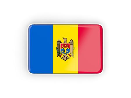 moldova: Flag of moldova, rectangular icon with white border. 3D illustration