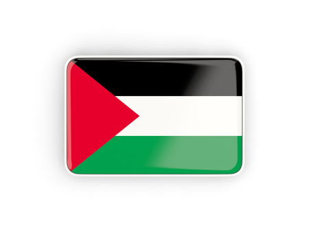 palestinian: Flag of palestinian territory, rectangular icon with white border. 3D illustration