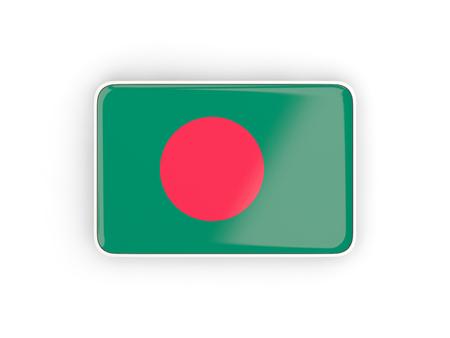 national flag bangladesh: Flag of bangladesh, rectangular icon with white border. 3D illustration Stock Photo
