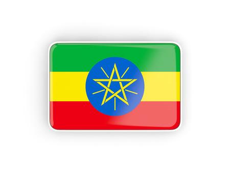 national flag ethiopia: Flag of ethiopia, rectangular icon with white border. 3D illustration Stock Photo