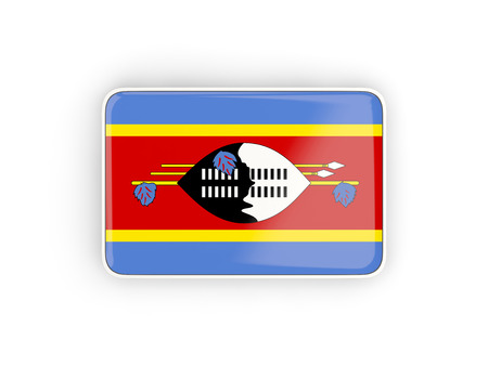 swaziland: Flag of swaziland, rectangular icon with white border. 3D illustration