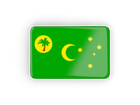 Flag of cocos islands, rectangular icon with white border. 3D illustration