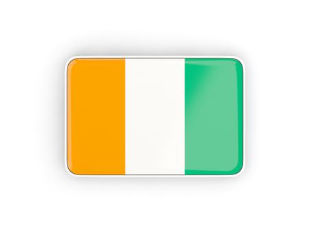 Flag of cote d Ivoire, rectangular icon with white border. 3D illustration