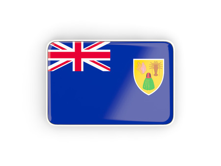 the turks: Flag of turks and caicos islands, rectangular icon with white border. 3D illustration