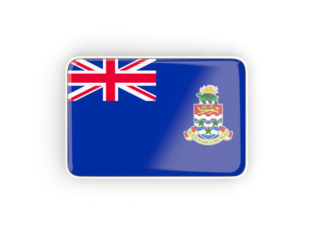 cayman islands: Flag of cayman islands, rectangular icon with white border. 3D illustration Stock Photo