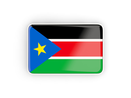 south sudan: Flag of south sudan, rectangular icon with white border. 3D illustration Stock Photo