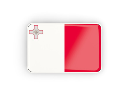 malta: Flag of malta, rectangular icon with white border. 3D illustration Stock Photo