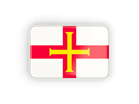 guernsey: Flag of guernsey, rectangular icon with white border. 3D illustration Stock Photo