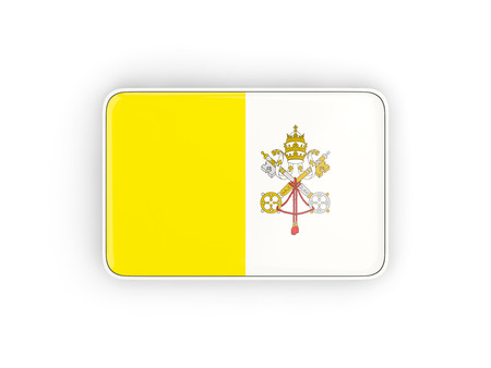 vatican city: Flag of vatican city, rectangular icon with white border. 3D illustration Stock Photo