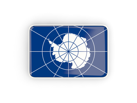 antarctica: Flag of antarctica, rectangular icon with white border. 3D illustration