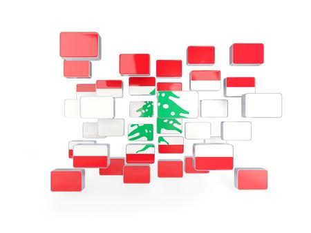 lebanon: Flag of lebanon, mosaic background. 3D illustration