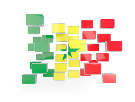 senegal: Flag of senegal, mosaic background. 3D illustration
