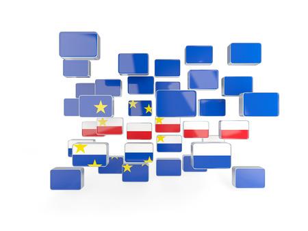 verde: Flag of cape verde, mosaic background. 3D illustration