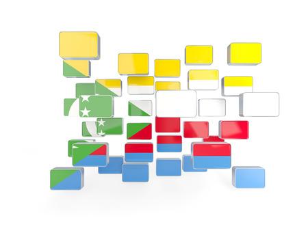 comoros: Flag of comoros, mosaic background. 3D illustration Stock Photo