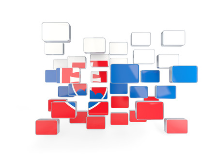 Flag of slovakia, mosaic background. 3D illustration