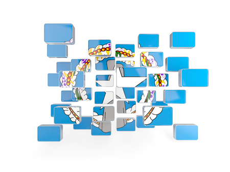 mariana: Flag of northern mariana islands, mosaic background. 3D illustration