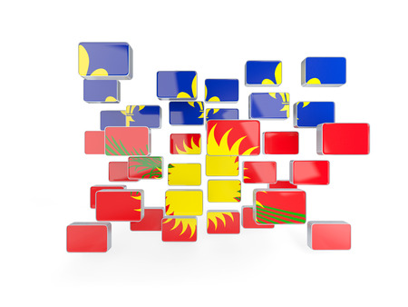 guadeloupe: Flag of guadeloupe, mosaic background. 3D illustration