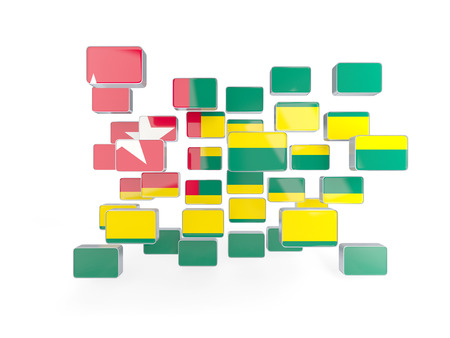 togo: Flag of togo, mosaic background. 3D illustration Stock Photo