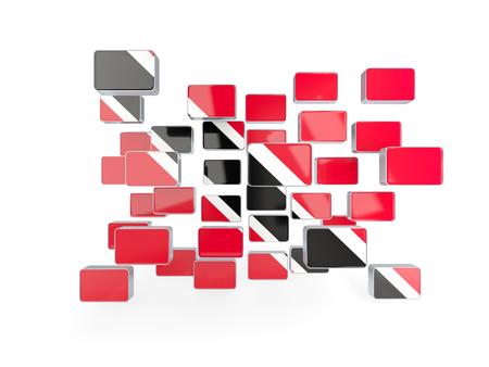 tobago: Flag of trinidad and tobago, mosaic background. 3D illustration
