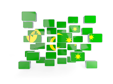 cocos: Flag of cocos islands, mosaic background. 3D illustration Stock Photo