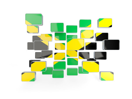jamaica: Flag of jamaica, mosaic background. 3D illustration