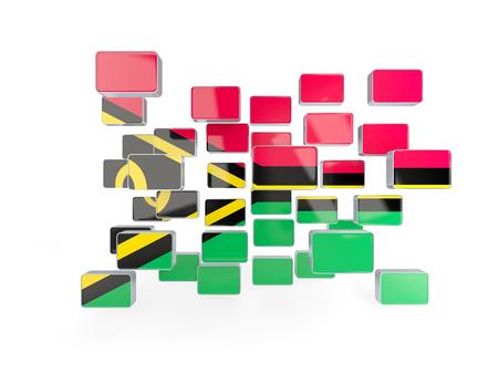 vanuatu: Flag of vanuatu, mosaic background. 3D illustration