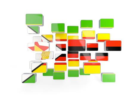 zimbabwe: Flag of zimbabwe, mosaic background. 3D illustration