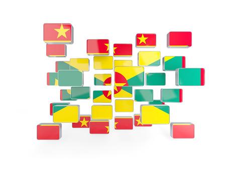 grenada: Flag of grenada, mosaic background. 3D illustration