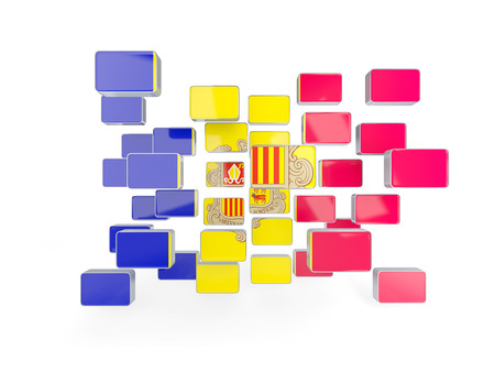 Flag of andorra, mosaic background. 3D illustration Stock Photo