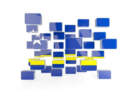 curacao: Flag of curacao, mosaic background. 3D illustration Stock Photo