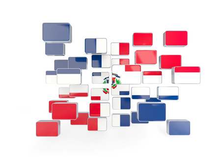 dominican republic: Flag of dominican republic, mosaic background. 3D illustration