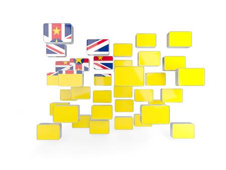 niue: Flag of niue, mosaic background. 3D illustration Stock Photo